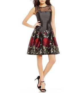 Embellished Organza Yoke Border Floral Print Fit-and-flare Dress