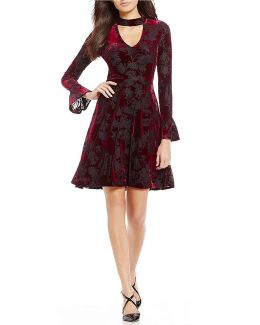 Burnout Velvet Bell Sleeve Fit-and-flare Dress