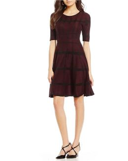 Textured Cross Bar Stripe Jacquard Fit-and-flare Sweater Dress