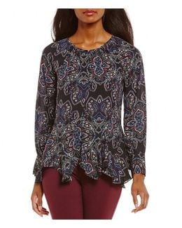 Medallion Paisley Print Peasant Top