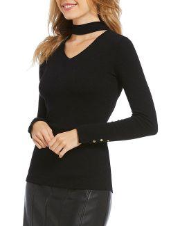 Choker V-neck Fine Gauge Knit Sweater Top