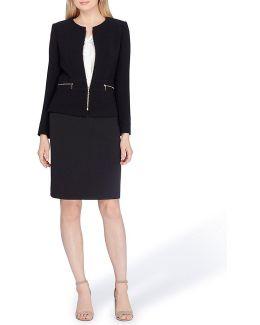 Front Zip Jacket Skirt Suit