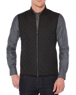 Big & Tall Ponte Knit Full-zip Quilted Vest
