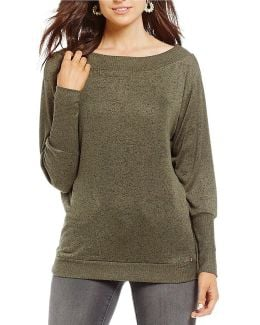 Hunter Off-the-shoulder Cozy Knit Top
