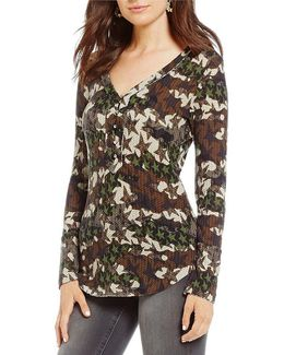 Woodland North Camo Long-sleeve Henley Tee