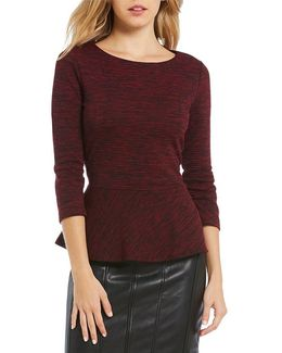 Space-dye Textured Knit Peplum Top