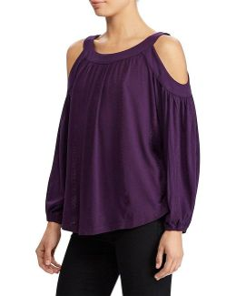 Cutout Shoulder Jersey Top