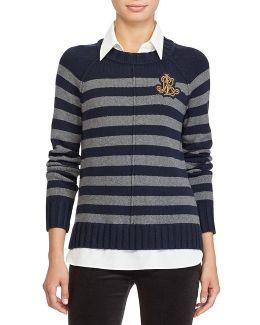 Layered Bullion-patch Sweater