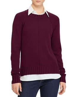 Petite Layered Cotton-blend Sweater
