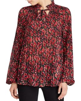 Plus Floral-print Pleated Blouse