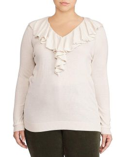 Plus Ruffled V-neck Sweater