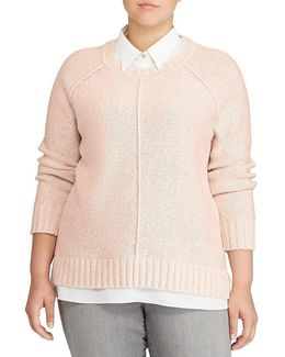 Plus Layered Cotton-blend Sweater
