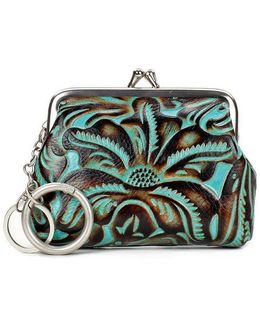 Tooled Turquoise Collection Borse Coin Case