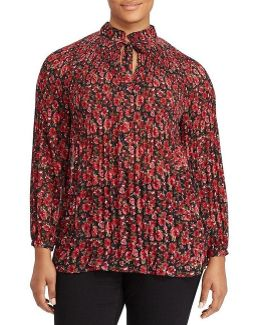 Plus Floral-print Pleated Blouse