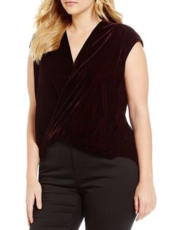 Plus Velvet Surplice Top