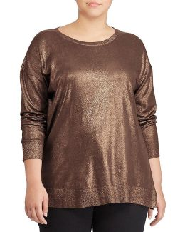Plus Metallic Cotton-blend Sweater