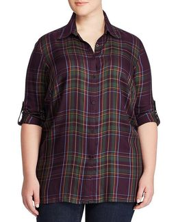 Plus Plaid Roll Cuff Shirt