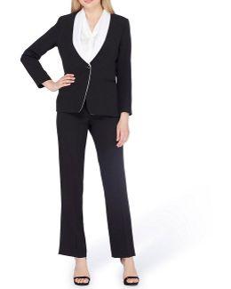 Petite Shawl Collar Pant Suit