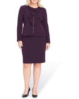 Ruffle-front Zippered Skirt Suit