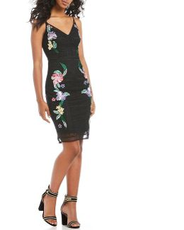 Ainsley Embroidered Mesh Sheath Dress