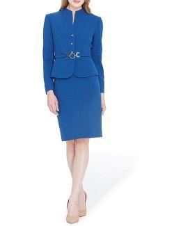 Funnel-neck Skirt Suit