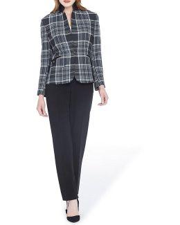 Petite Plaid Jacket Pant Suit