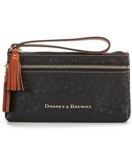 Ostrich Collection Double-zip Tasseled Wristlet