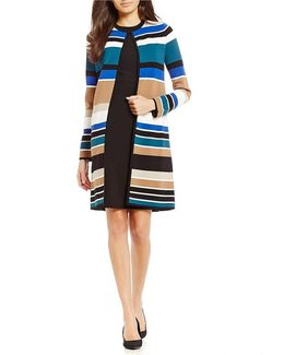 Petites Engineered Stripe Textured Knit Open Front Long Cardigan