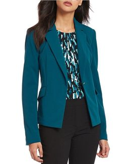 Petites Scuba Crepe Suiting One-button Cutaway Jacket