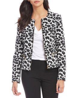 Petites Leopard Print Scuba Crepe Knit Zip Front Jacket