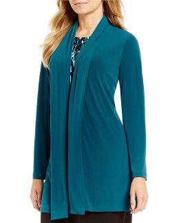 Matte Jersey Shawl Collar Open Front Long Jacket