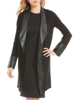 Faux Leather Trim Sweater Knit Topper Jacket