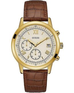 Chronograph & Date Crocodile-embossed Leather-strap Watch
