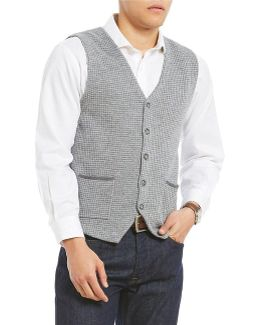 Houndstooth Button Sweater Vest