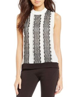 Contrast Lace Trim Sleeveless Top