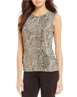 Metallic Geometric Print Knit Jersey Pleat Neck Shell