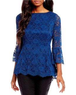 Boat Neck 3/4 Bell Sleeve Hi-low Blouse