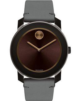 Colorado Bull Hide Leather-strap Watch