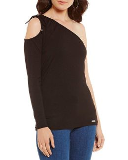 Ruched One Cold Shoulder Knit Jersey Top