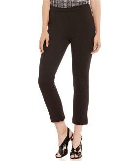 Jacquard Knit Flat Front Side Zip Ankle Pants
