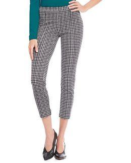 Houndstooth Print Ponte Knit Flat Front Side Zip Crop Pants
