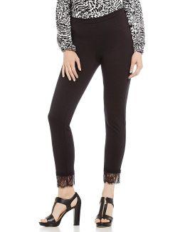 Ponte Knit Lace Cuff Crop Legging