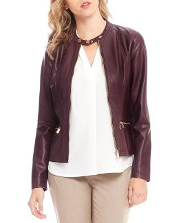 Faux Leather And Rib Knit Zip Front Jacket