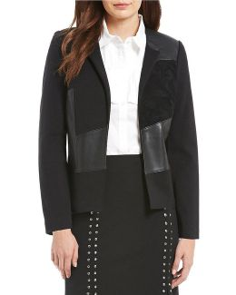 Faux Suede And Faux Leather Pieced Front Ponte Knit Jacket