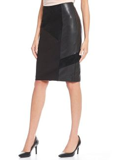 Faux Suede And Faux Leather Pieced Ponte Knit Pencil Skirt
