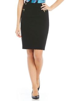Luxe Stretch Suiting Side Zip Pocket Pencil Skirt