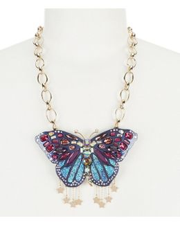 Gold-tone Stone & Crystal Butterfly Pendant Necklace