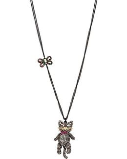 Pav Cat Pendant Necklace