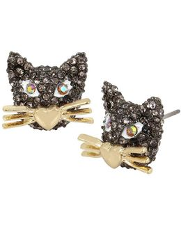 Pav Cat Stud Earrings