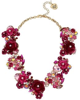 Gold-tone Multi-stone Pink Flower Statement Necklace